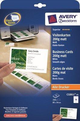 Avery Zweckform Visitenkarten 85x54mm 200g C32011-25 matt weiß glatte Kanten