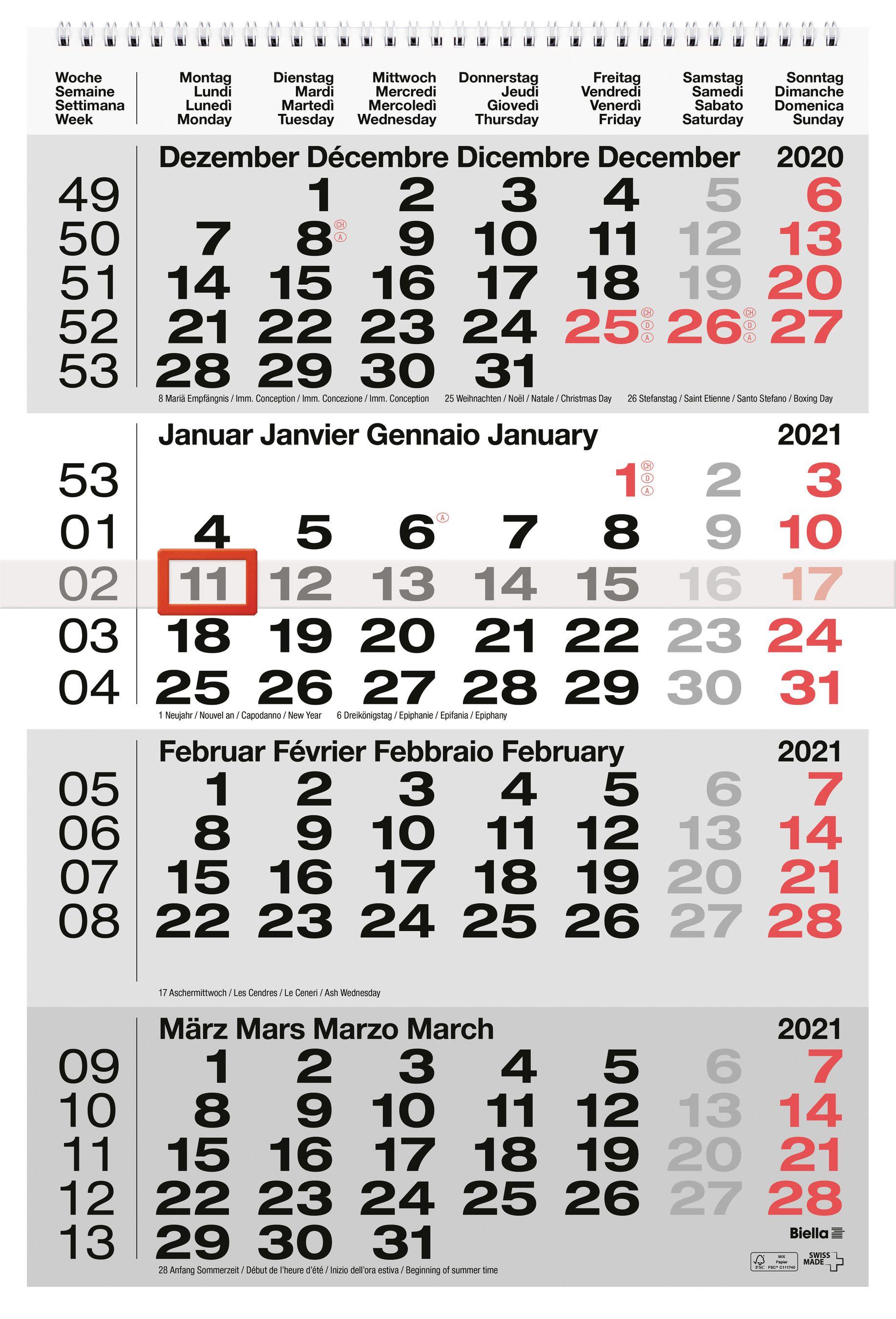BIELLA Calendario 2021 31x47cm 0889040.000021 grigio Wire O 4M/S